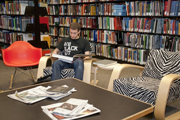 student in Built Environments Library